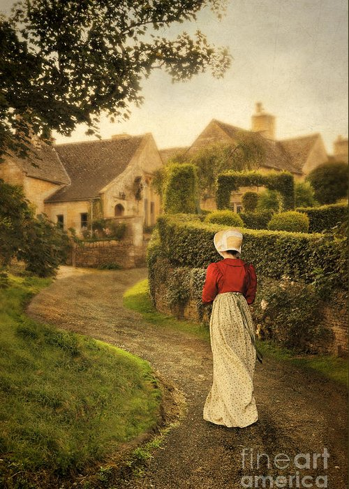 Town Greeting Card featuring the photograph Lady In Regency Dress Walking by Jill Battaglia