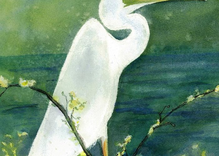 Egret Greeting Card featuring the painting Lady-in-waiting II by Maria Hunt