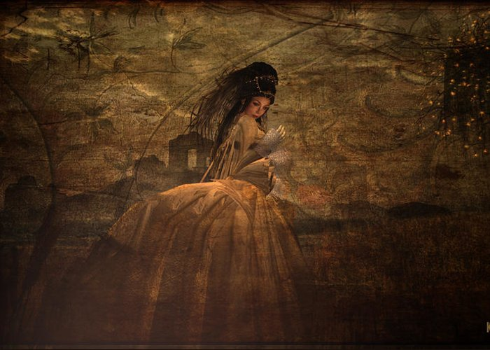 Renaissance Greeting Card featuring the digital art Lady In Waiting by Kylie Sabra
