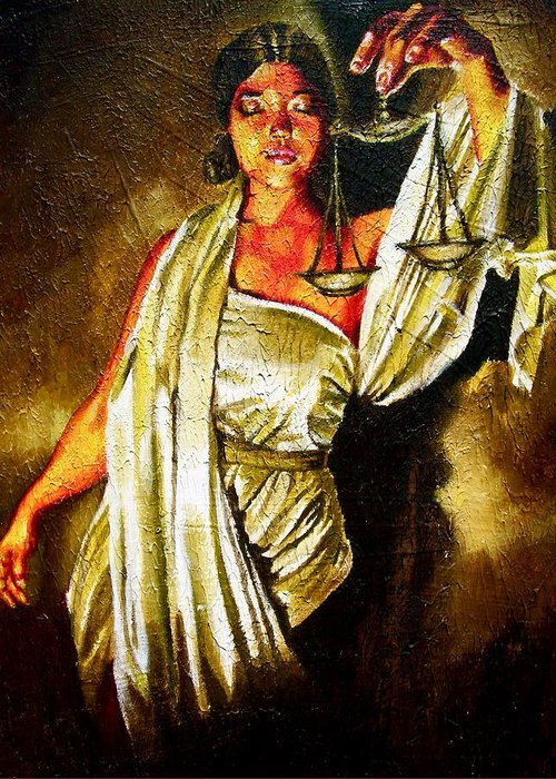Law Art Greeting Card featuring the painting Lady Justice Sepia by Laura Pierre-Louis