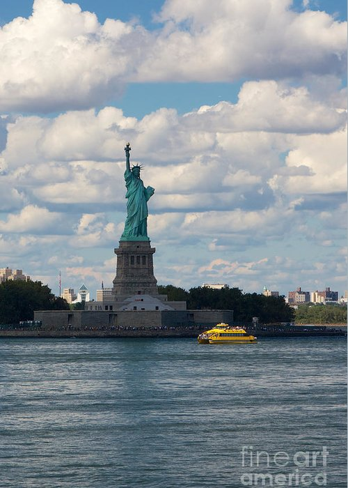 America Greeting Card featuring the photograph Lady Liberty And Water Taxi by Jannis Werner