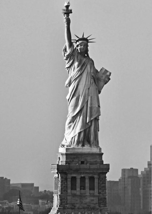 Lady Liberty Black And White Greeting Card For Sale By