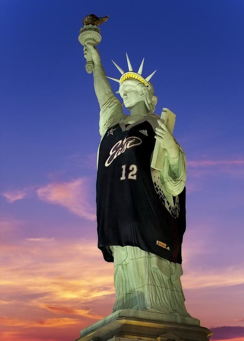 # 12 Greeting Card featuring the photograph Lady Liberty Dressed Up For The Nba All Star Game by Susan Candelario