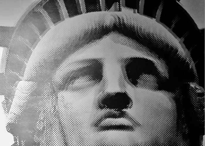 Statue Of Liberty Greeting Card featuring the photograph Lady Liberty In Black And White1 by Rob Hans