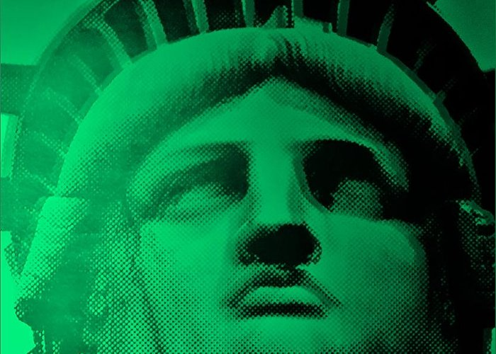 Statue Of Liberty Greeting Card featuring the photograph Lady Liberty In Copper Green by Rob Hans