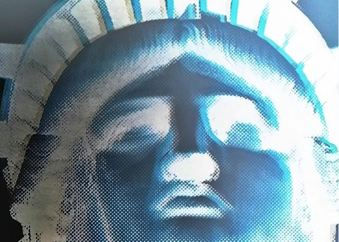 Statue Of Liberty Greeting Card featuring the photograph Lady Liberty In Negative by Rob Hans