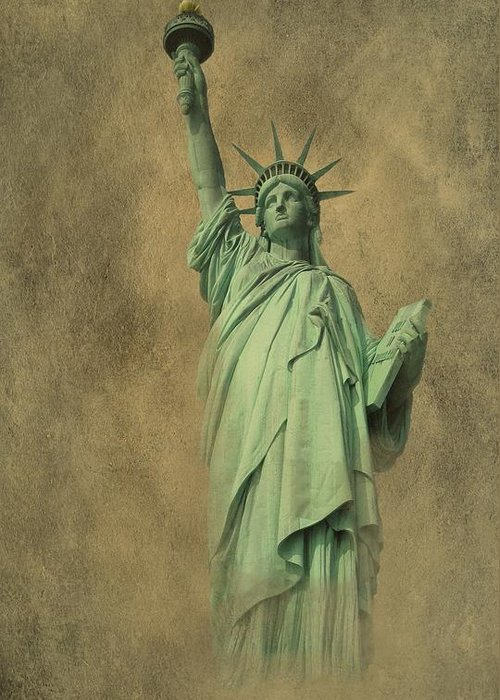 New York Greeting Card featuring the photograph Lady Liberty New York Harbor by David Dehner