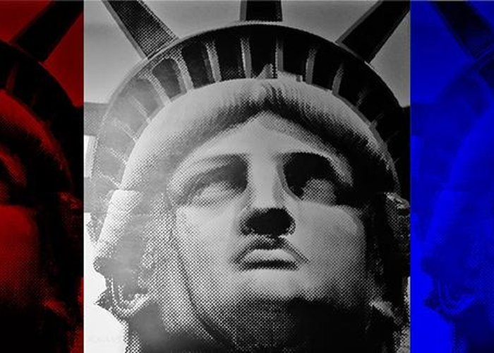 Statue Of Liberty Greeting Card featuring the photograph Lady Liberty Red White And Blue by Rob Hans
