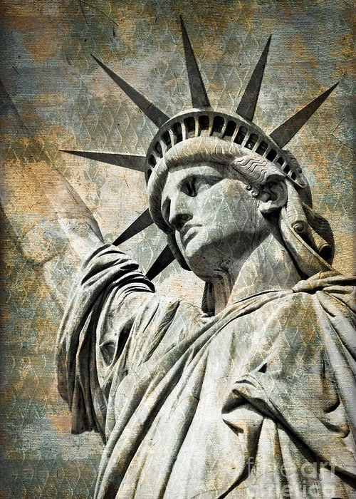 Statue Of Liberty Greeting Card featuring the photograph Lady Liberty Vintage by Delphimages Photo Creations
