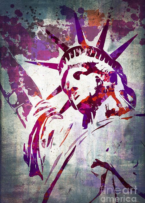 Statue Of Liberty Greeting Card featuring the painting Lady Liberty Watercolor by Delphimages Photo Creations