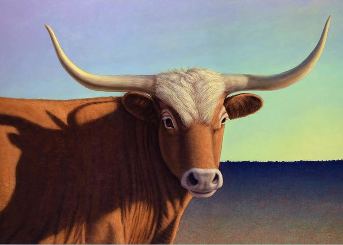 Lady Longhorn Greeting Card featuring the painting Lady Longhorn by James W Johnson