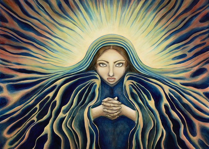 Virgin Mary Greeting Card featuring the painting Lady Of Light by Lyn Pacificar