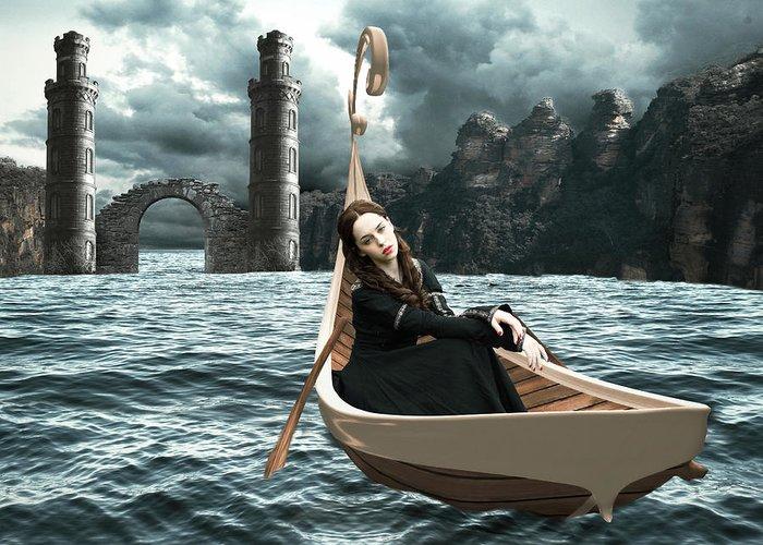 Water Faerie Greeting Card featuring the digital art Lady Of Llyn-y-fan Fach by Linda Lees
