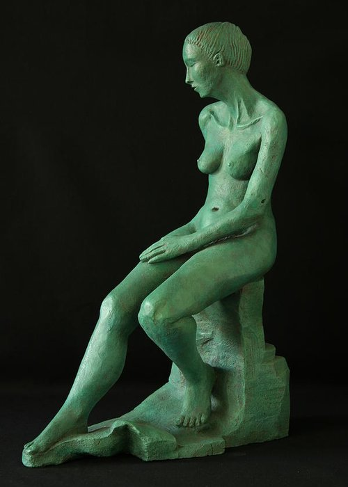 Nude Woman Sculpture Greeting Card featuring the sculpture Lady On The Rock by Flow Fitzgerald