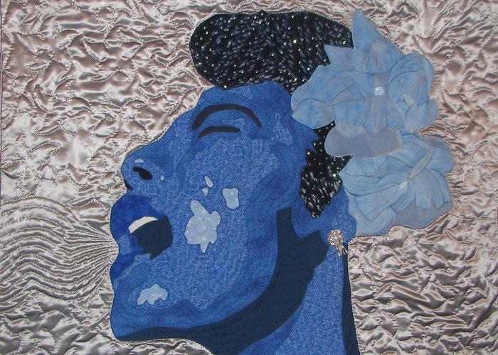 Lady Sings Greeting Card featuring the tapestry - textile Lady Sings by Aisha Lumumba