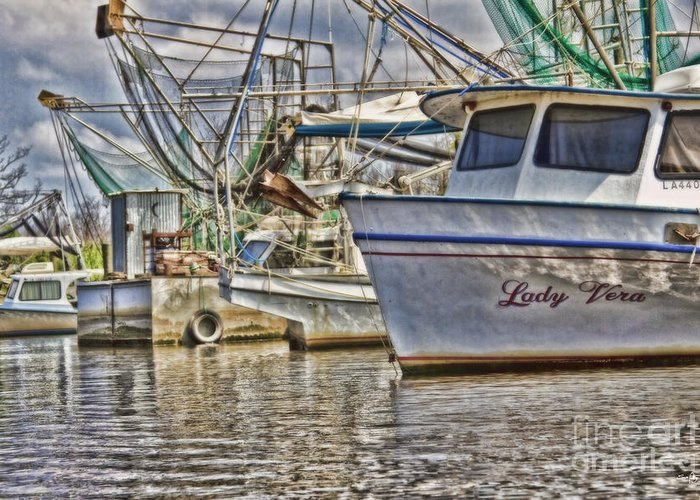 Shrimp Boat Greeting Card featuring the photograph Lady Vera by Scott Pellegrin