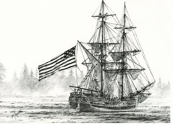 Tall Ship Print Greeting Card featuring the drawing Lady Washington At Friendly Cove by James Williamson