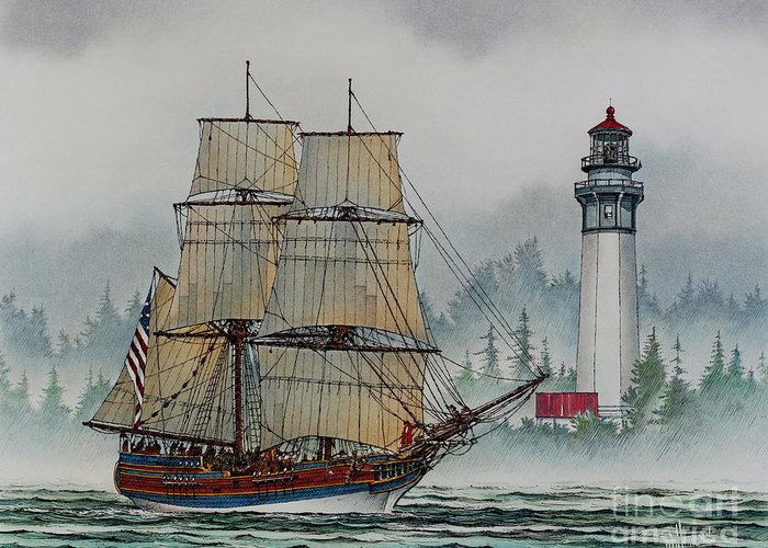 Tall Ship Print Greeting Card featuring the painting Lady Washington At Grays Harbor by James Williamson
