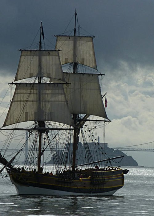 Tall Ship Greeting Card featuring the photograph Lady Washington by Sabine Stetson