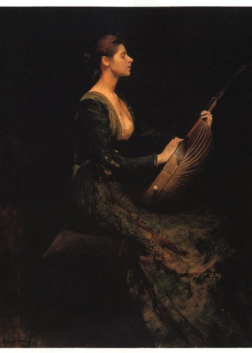 Thomas Wilmer Dewing Greeting Card featuring the painting Lady With A Lute by Thomas Wilmer Dewing