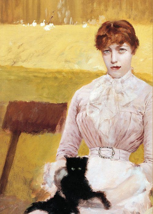 Cat Greeting Card featuring the painting Lady With Black Kitten by Giuseppe De Nittis