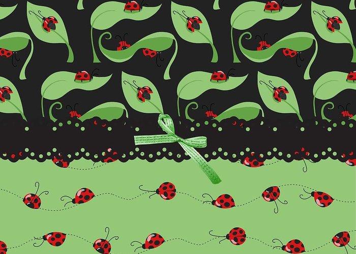 Ladybugs Greeting Card featuring the digital art Ladybug Splash by Debra Miller