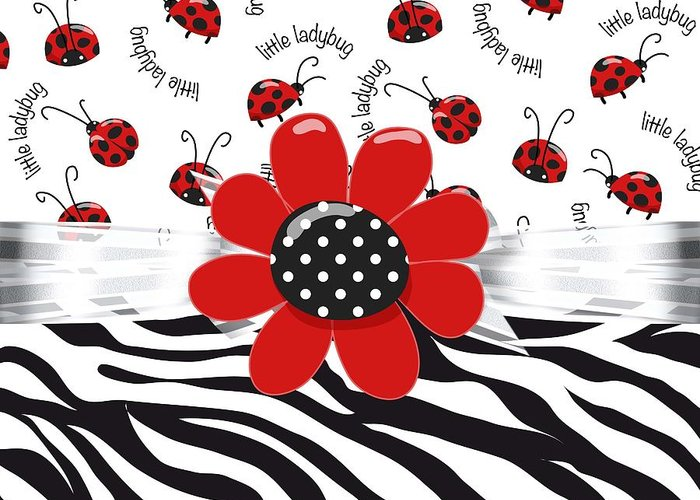 Leopard Print Greeting Card featuring the digital art Ladybug Wild Thing by Debra Miller