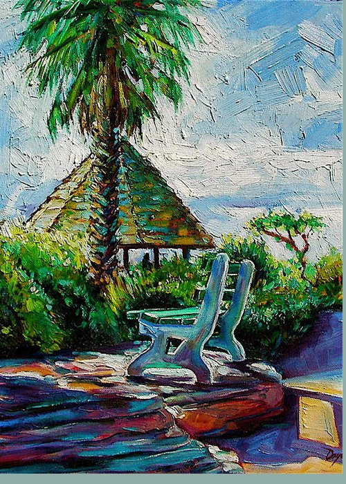 Bench Greeting Card featuring the painting Laguna Beach Bench by Karen Doyle