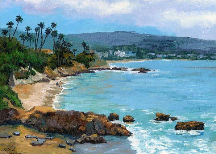 Laguna Beach Greeting Card featuring the painting Laguna Beach Winter by Alice Leggett