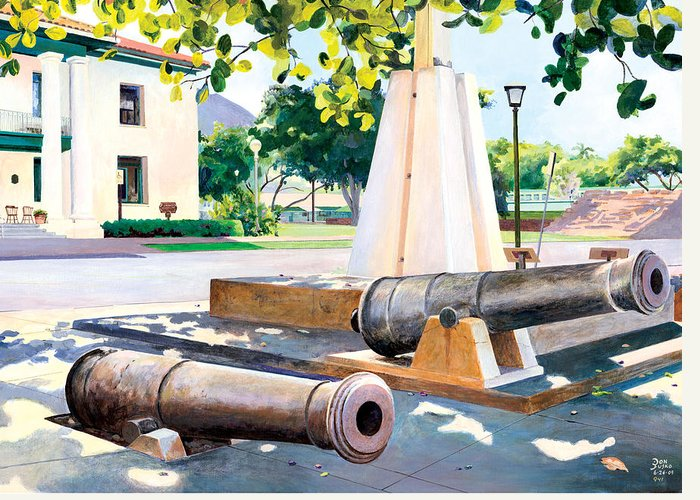 Lahaina Maui Cannons Greeting Card featuring the painting Lahaina 1812 Cannons by Don Jusko