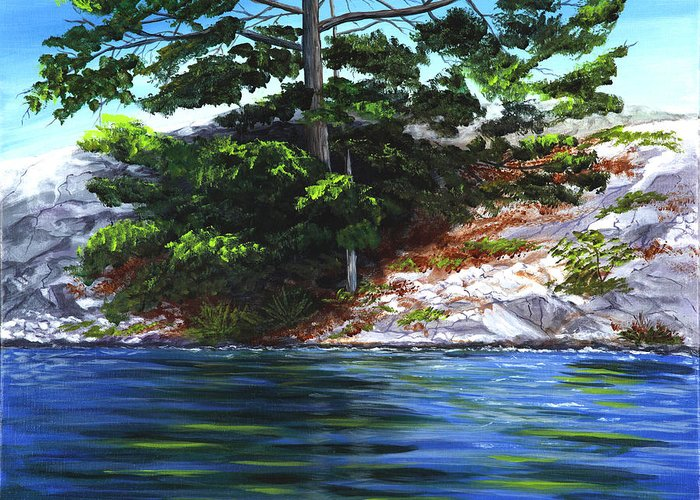 Landscape And Pine Trees Greeting Card featuring the painting Lake Agnew by Gig Laurin