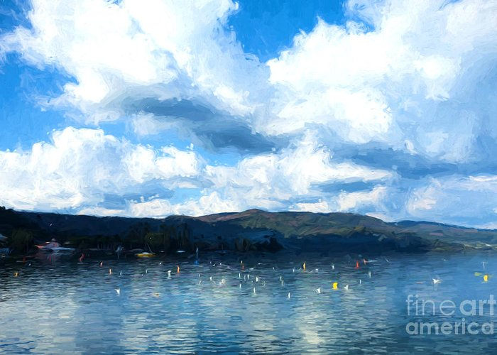 Water Greeting Card featuring the painting Lake Background by Ezeepics
