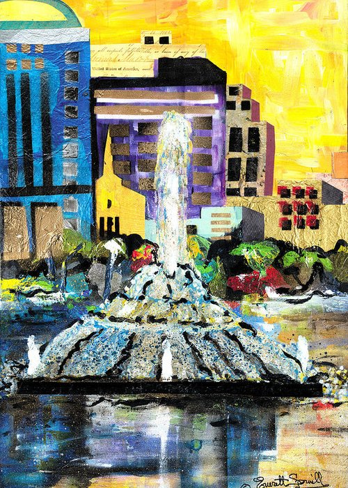 Orlando Greeting Card featuring the painting Lake Eola - Part 2 Of 3 by Everett Spruill