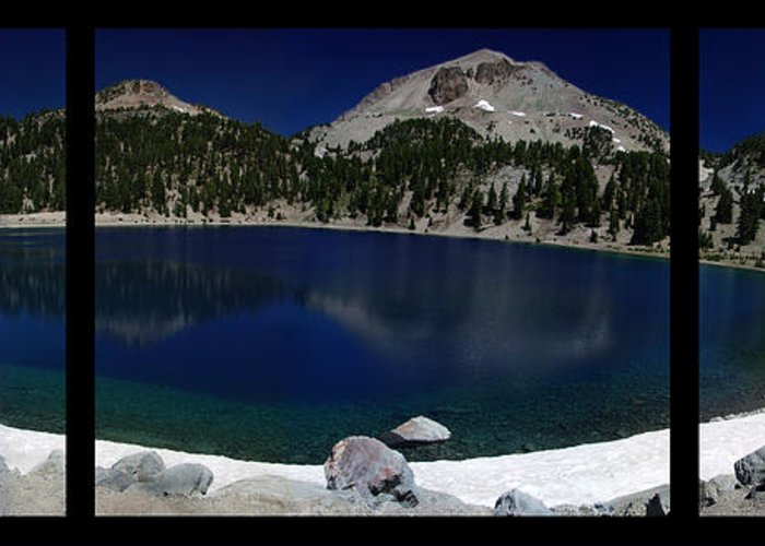Mirror Greeting Card featuring the photograph Lake Helen At Mt Lassen Triptych by Peter Piatt