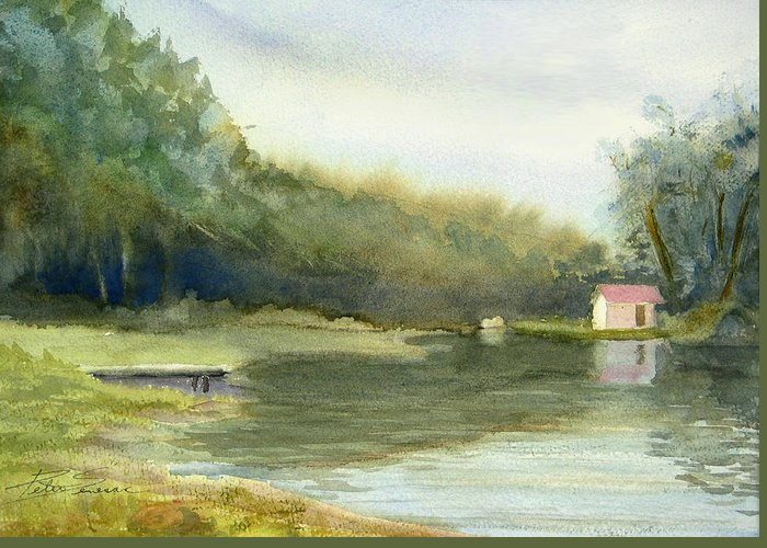 Landscape Greeting Card featuring the painting Lake House by Peter Senesac