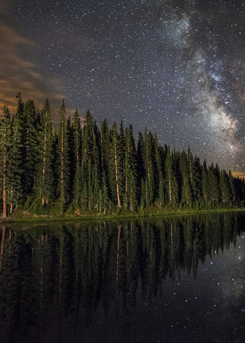 All Rights Reserved Greeting Card featuring the photograph Lake Irene's Milky Way Mirror by Mike Berenson