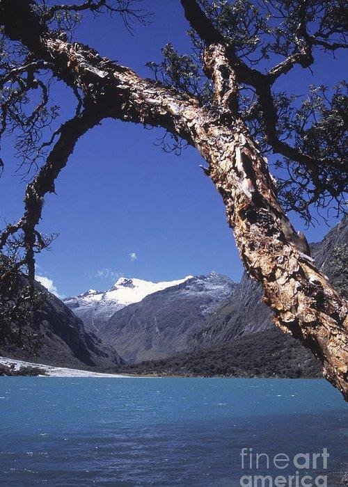 Peru Greeting Card featuring the photograph Lake Llanganuco Peru by James Brunker
