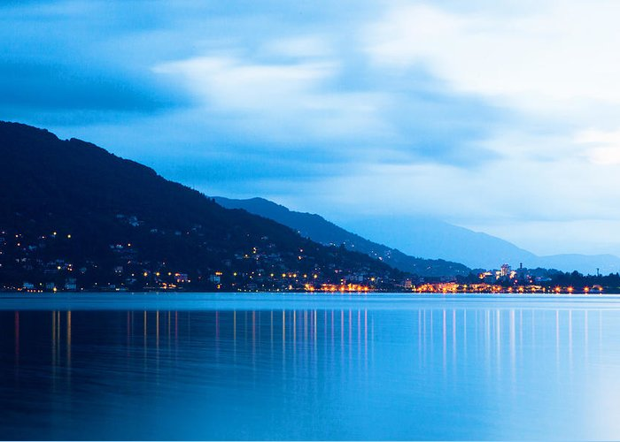 Italy Greeting Card featuring the photograph Lake Maggiore Before Sunrise by Susan Schmitz