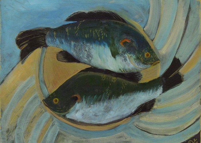 Fish Greeting Card featuring the painting Lake Martin Fish by Carol Oufnac Mahan