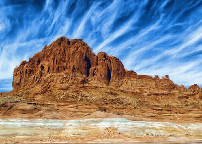 Lake Powell Greeting Card featuring the painting Lake Powell Rocks by Ayse Deniz