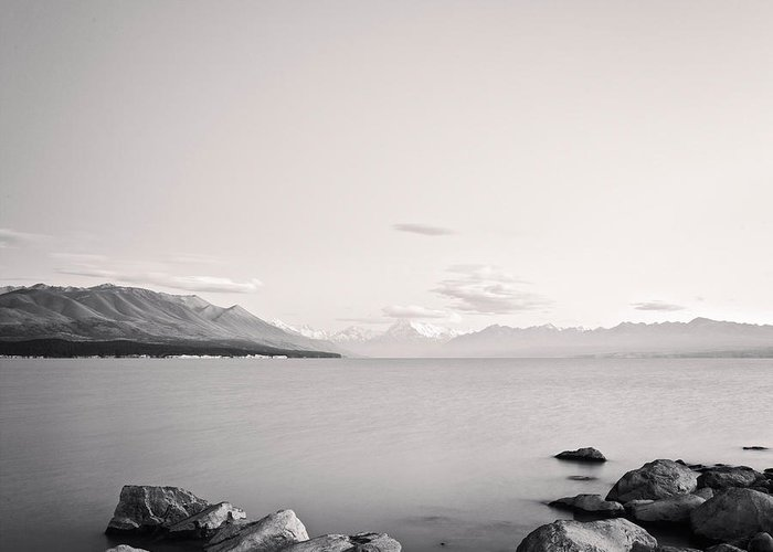 Black & White Greeting Card featuring the photograph Lake Pukaki And Mount Cook New Zealand. by Colin and Linda McKie