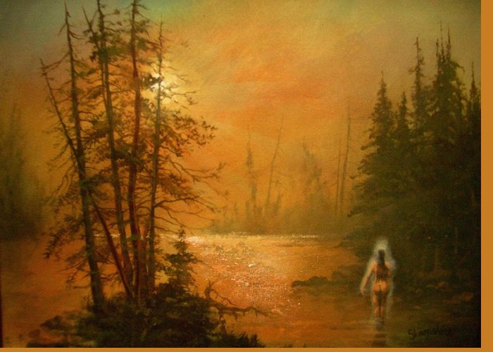 Lake Greeting Card featuring the painting Lake Spirit by Tom Shropshire