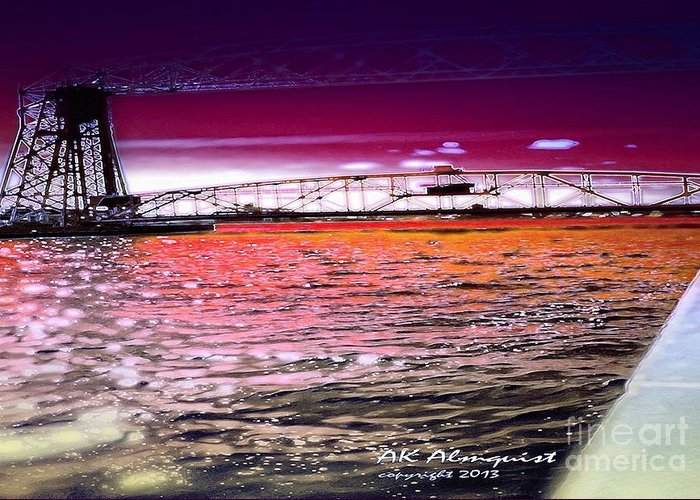 Lake Superior Greeting Card featuring the digital art Lake Superior Bridge by Ann Almquist