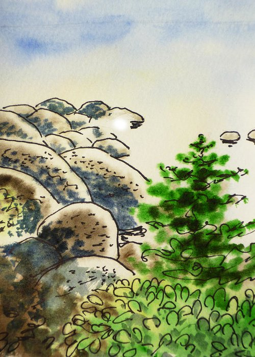 Sketchbook Greeting Card featuring the painting Lake Tahoe - California Sketchbook Project by Irina Sztukowski