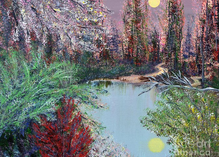 Lake Greeting Card featuring the painting Lake Tranquility by Alys Caviness-Gober