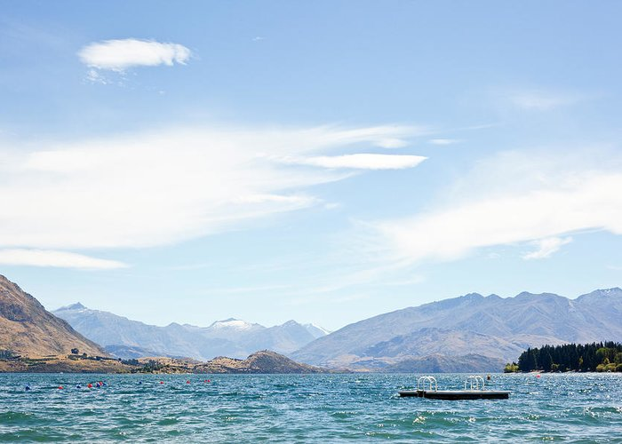 Scenics Greeting Card featuring the photograph Lake Wanaka Diving Platform by Phillip Suddick
