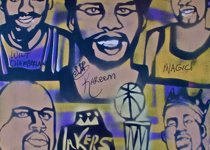 Kobe Bryant Greeting Card featuring the painting Laker Love by Tony B Conscious