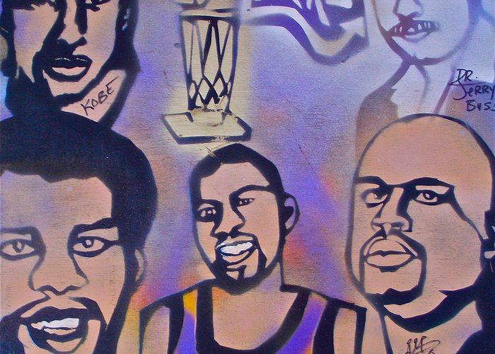 Kobe Bryant Greeting Card featuring the painting Lakers Love Jerry Buss 1 by Tony B Conscious