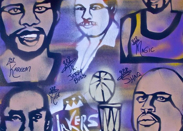 Kobe Bryant Greeting Card featuring the painting Lakers Love Jerry Buss 2 by Tony B Conscious