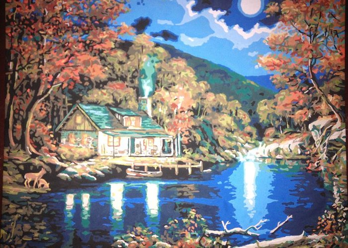 Lake Greeting Card featuring the painting Lakeside Cabin by Lisa Haltiwanger